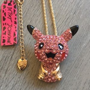 Betsey Johnson Pikachu Necklace & Brooch Pin